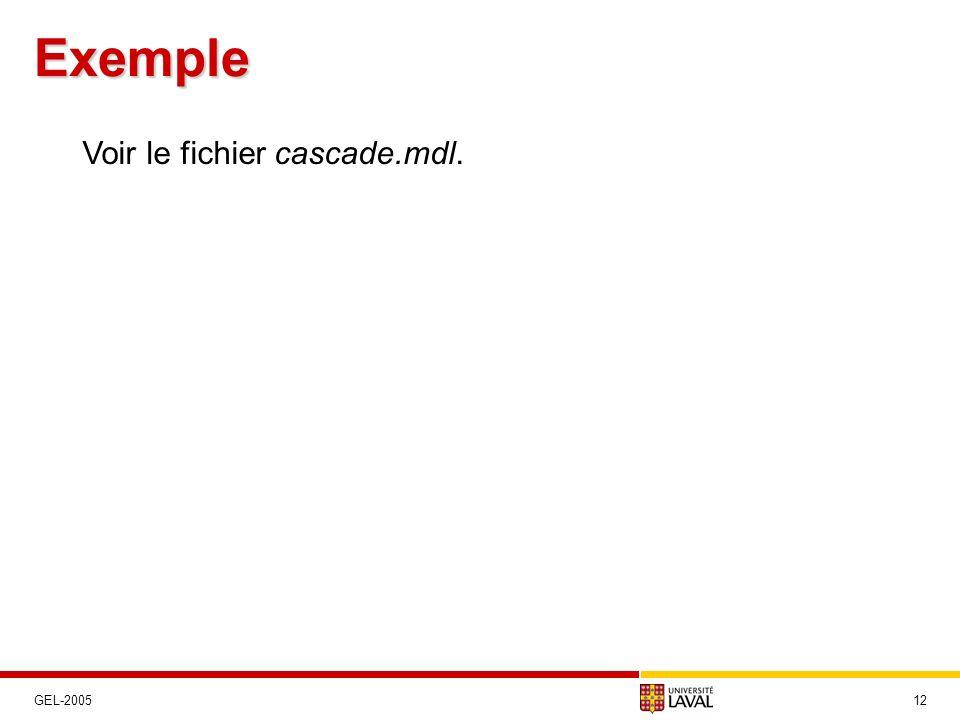 Exemple 12GEL-2005 Voir le fichier cascade.mdl.