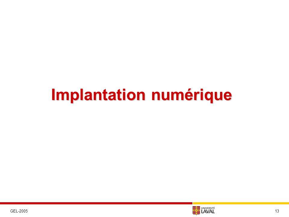 Implantation numérique 13GEL-2005