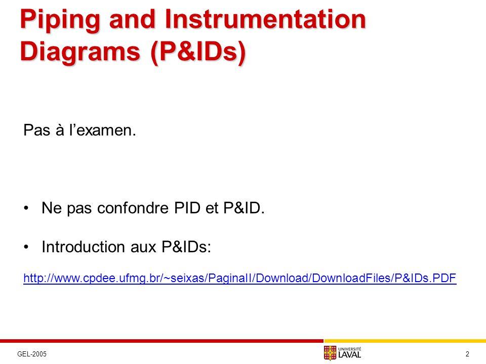 Piping and Instrumentation Diagrams (P&IDs) 2GEL-2005 Pas à lexamen. Ne pas confondre PID et P&ID. Introduction aux P&IDs: http://www.cpdee.ufmg.br/~s