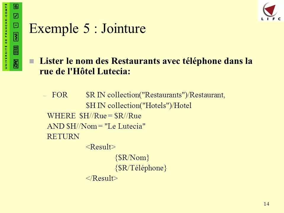 14 Exemple 5 : Jointure n Lister le nom des Restaurants avec téléphone dans la rue de l'Hôtel Lutecia: – FOR $R IN collection(