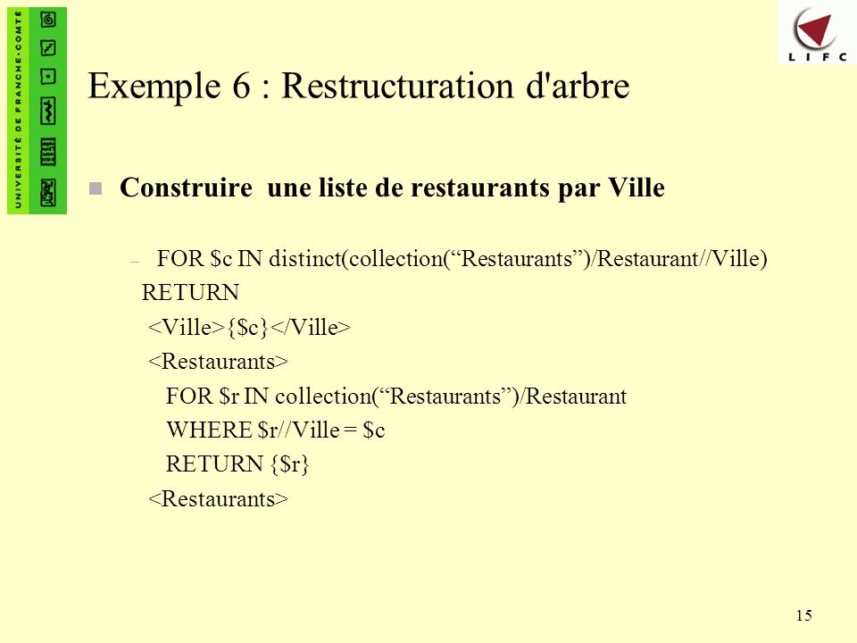 15 Exemple 6 : Restructuration d'arbre n Construire une liste de restaurants par Ville – FOR $c IN distinct(collection(Restaurants)/Restaurant//Ville)