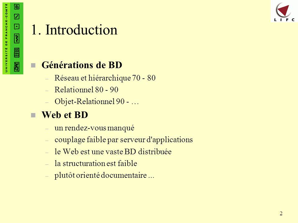 2 1. Introduction n Générations de BD – Réseau et hiérarchique 70 - 80 – Relationnel 80 - 90 – Objet-Relationnel 90 - … n Web et BD – un rendez-vous m