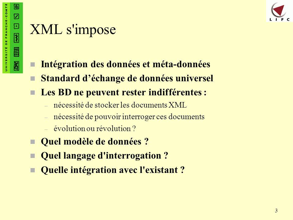 3 XML s'impose n Intégration des données et méta-données n Standard déchange de données universel n Les BD ne peuvent rester indifférentes : – nécessi