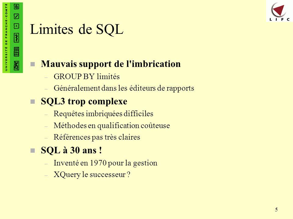 5 Limites de SQL n Mauvais support de l'imbrication – GROUP BY limités – Généralement dans les éditeurs de rapports n SQL3 trop complexe – Requêtes im