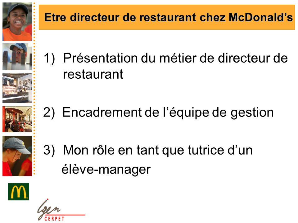 1)Présentation du métier de directeur de restaurant 2) Encadrement de léquipe de gestion 3)Mon rôle en tant que tutrice dun élève-manager Etre directeur de restaurant chez McDonalds