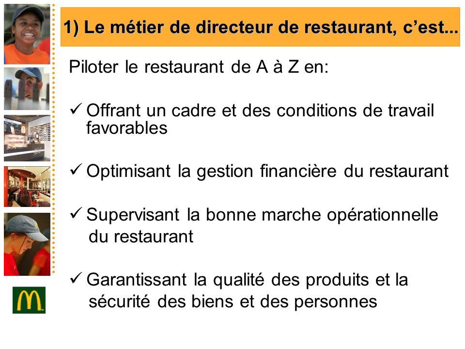 1) Le métier de directeur de restaurant, cest... 1) Le métier de directeur de restaurant, cest... Piloter le restaurant de A à Z en: Offrant un cadre