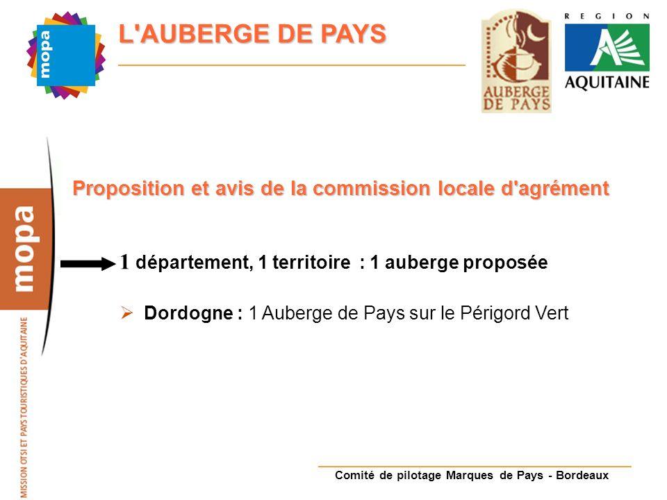 Comité de pilotage Marques de Pays - Bordeaux L AUBERGE DE PAYS Proposition et avis de la commission locale d agrément 1 département, 1 territoire : 1 auberge proposée Dordogne : 1 Auberge de Pays sur le Périgord Vert
