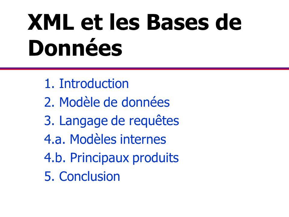 XML et les Bases de Données 1. Introduction 2. Modèle de données 3. Langage de requêtes 4.a. Modèles internes 4.b. Principaux produits 5. Conclusion