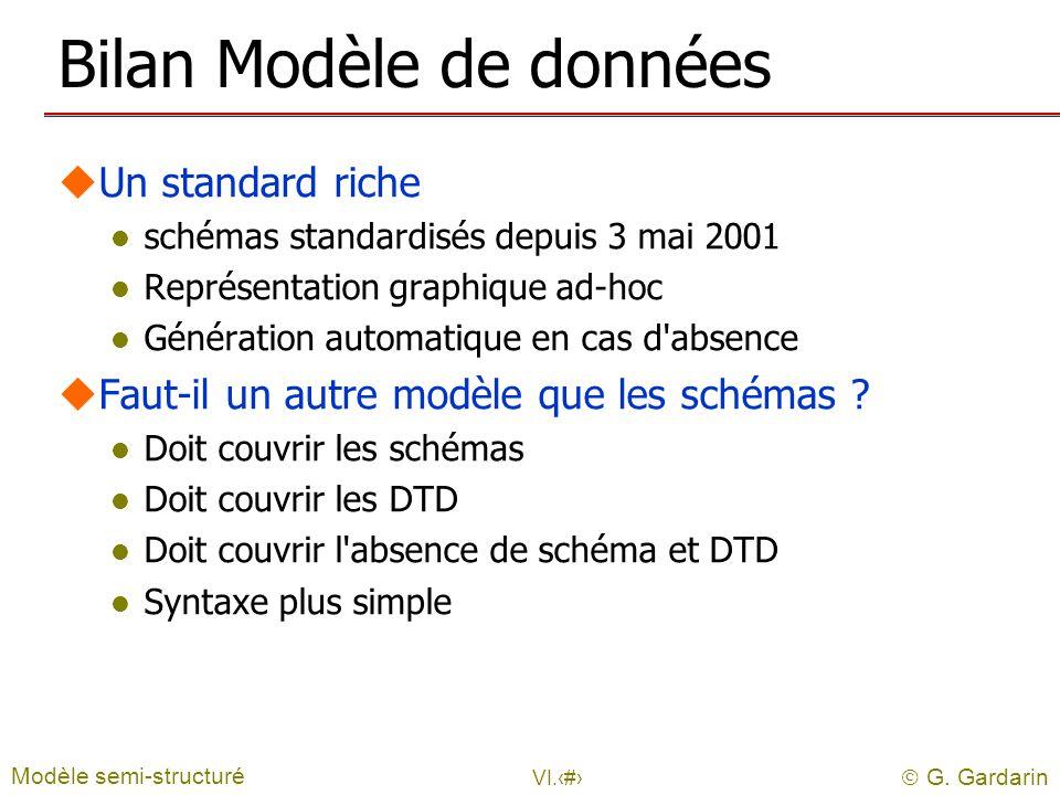G. Gardarin VI.10 Bilan Modèle de données uUn standard riche l schémas standardisés depuis 3 mai 2001 l Représentation graphique ad-hoc l Génération a