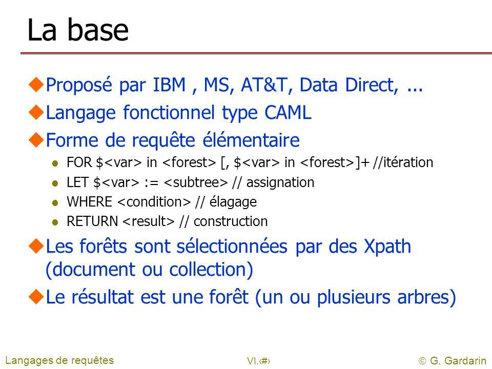 G. Gardarin VI.14 La base uProposé par IBM, MS, AT&T, Data Direct,... uLangage fonctionnel type CAML uForme de requête élémentaire l FOR $ in [, $ in
