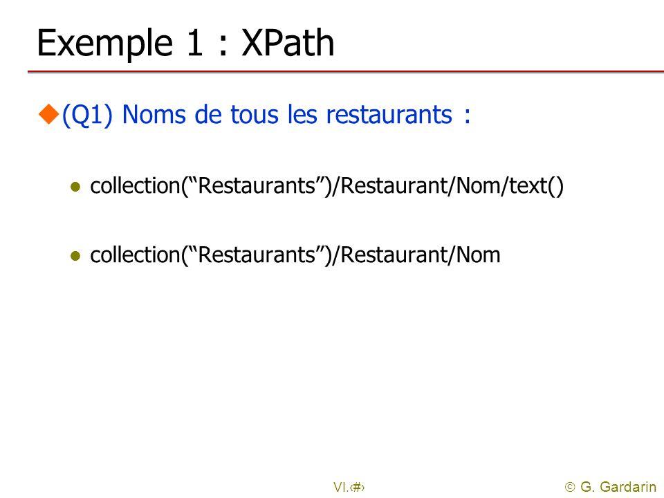 G. Gardarin VI.15 Exemple 1 : XPath u(Q1) Noms de tous les restaurants : l collection(Restaurants)/Restaurant/Nom/text() l collection(Restaurants)/Res