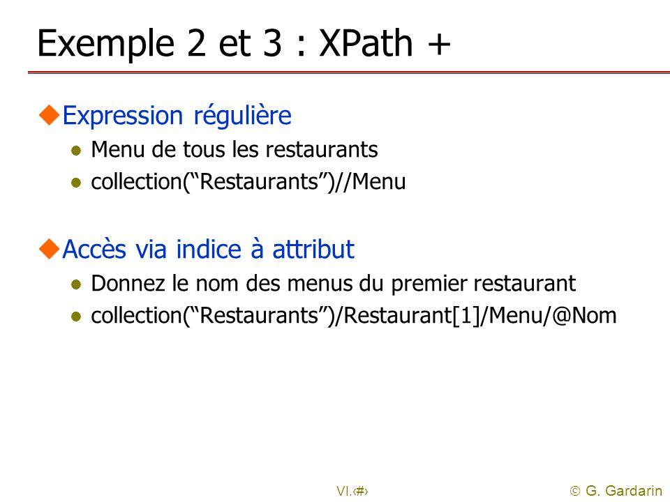 G. Gardarin VI.16 Exemple 2 et 3 : XPath + uExpression régulière l Menu de tous les restaurants l collection(Restaurants)//Menu uAccès via indice à at