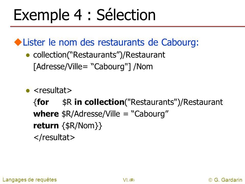 G. Gardarin VI.17 Exemple 4 : Sélection uLister le nom des restaurants de Cabourg: l collection(Restaurants)/Restaurant [Adresse/Ville= Cabourg