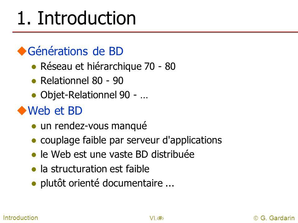 G. Gardarin VI.2 1. Introduction uGénérations de BD l Réseau et hiérarchique 70 - 80 l Relationnel 80 - 90 l Objet-Relationnel 90 - … uWeb et BD l un