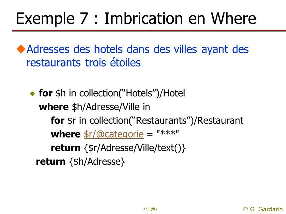 G. Gardarin VI.20 Exemple 7 : Imbrication en Where uAdresses des hotels dans des villes ayant des restaurants trois étoiles l for $h in collection(Hot