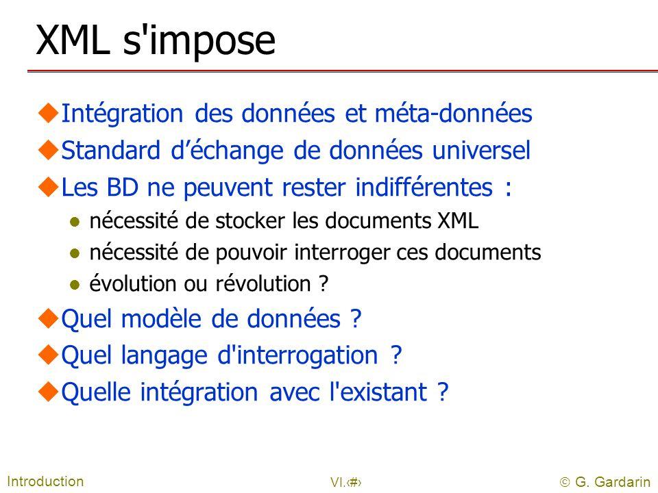 G. Gardarin VI.3 XML s'impose uIntégration des données et méta-données uStandard déchange de données universel uLes BD ne peuvent rester indifférentes