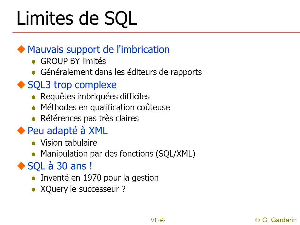 G. Gardarin VI.4 Limites de SQL uMauvais support de l'imbrication l GROUP BY limités l Généralement dans les éditeurs de rapports uSQL3 trop complexe