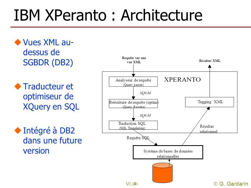 G. Gardarin VI.44 IBM XPeranto : Architecture uVues XML au- dessus de SGBDR (DB2) uTraducteur et optimiseur de XQuery en SQL uIntégré à DB2 dans une f