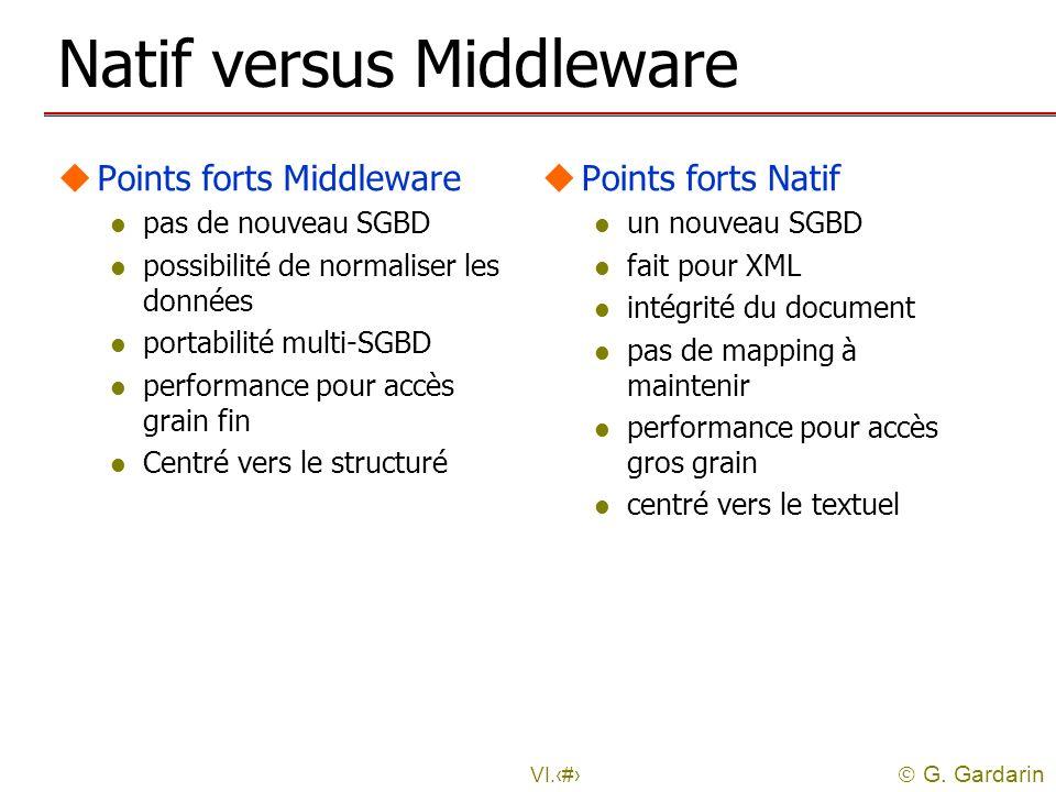 G. Gardarin VI.46 Natif versus Middleware uPoints forts Middleware l pas de nouveau SGBD l possibilité de normaliser les données l portabilité multi-S