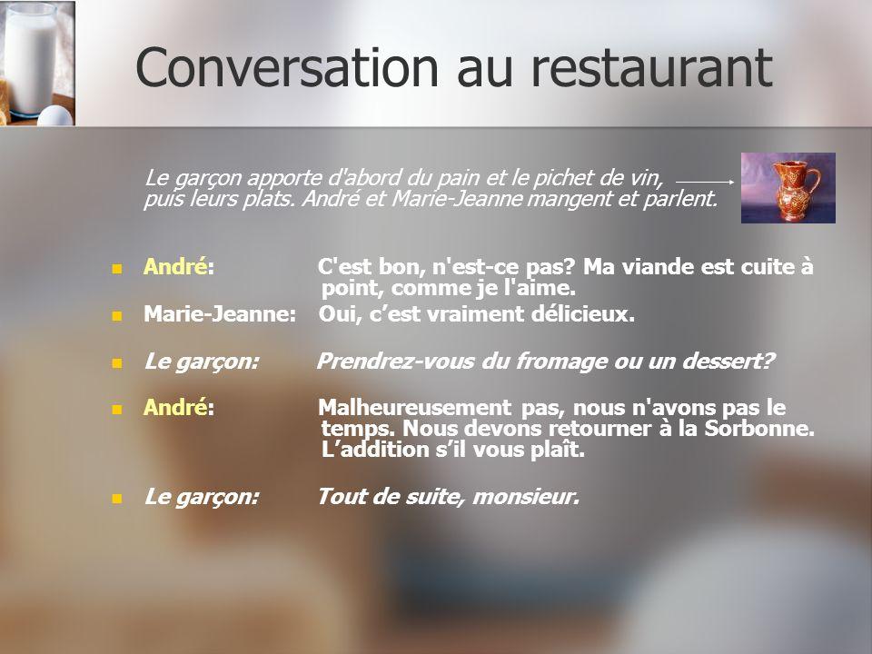 Conversation au restaurant Le garçon apporte d'abord du pain et le pichet de vin, puis leurs plats. André et Marie-Jeanne mangent et parlent. André: C