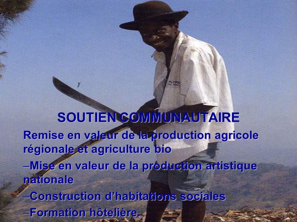 SOUTIEN COMMUNAUTAIRE Remise en valeur de la production agricole régionale et agriculture bio –Mise en valeur de la production artistique nationale –C