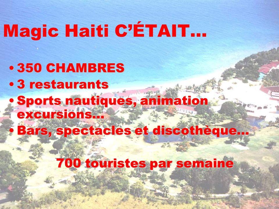 Magic Haiti CÉTAIT… 350 CHAMBRES350 CHAMBRES 3 restaurants3 restaurants Sports nautiques, animation excursions…Sports nautiques, animation excursions…