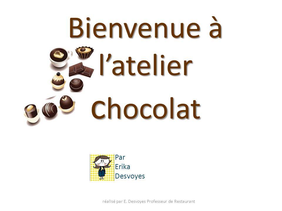 Les différents chocolats et garnitures réalisé par E.