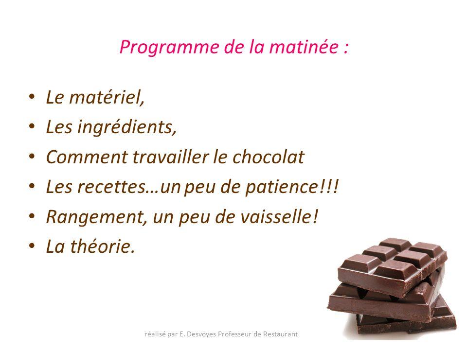 Programme de la matinée : Le matériel, Les ingrédients, Comment travailler le chocolat Les recettes…un peu de patience!!! Rangement, un peu de vaissel