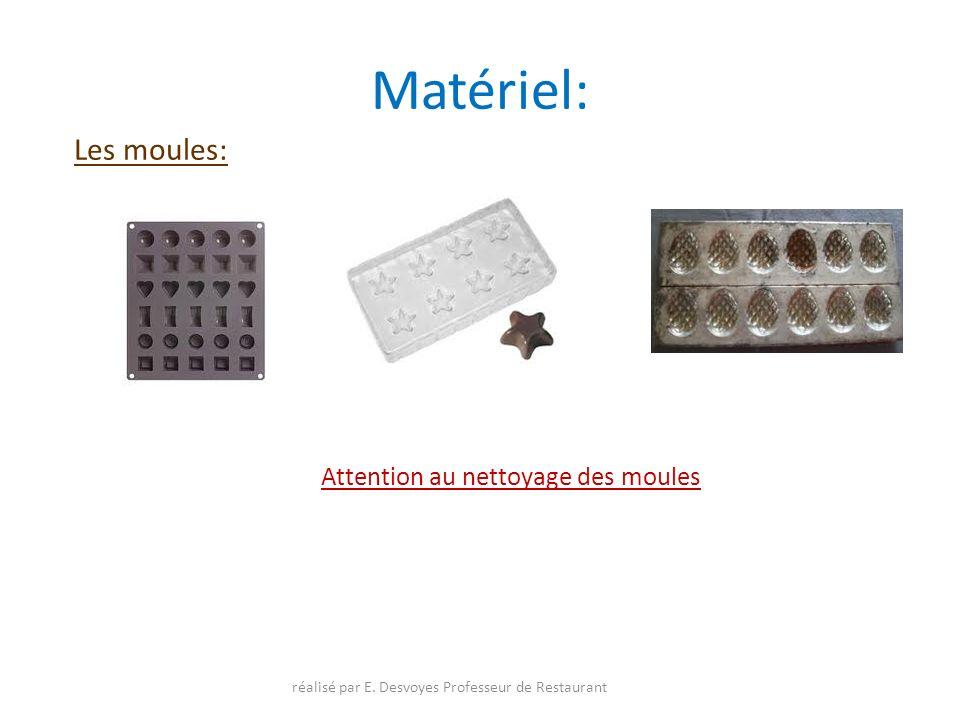 Matériel: Les moules: Attention au nettoyage des moules réalisé par E. Desvoyes Professeur de Restaurant