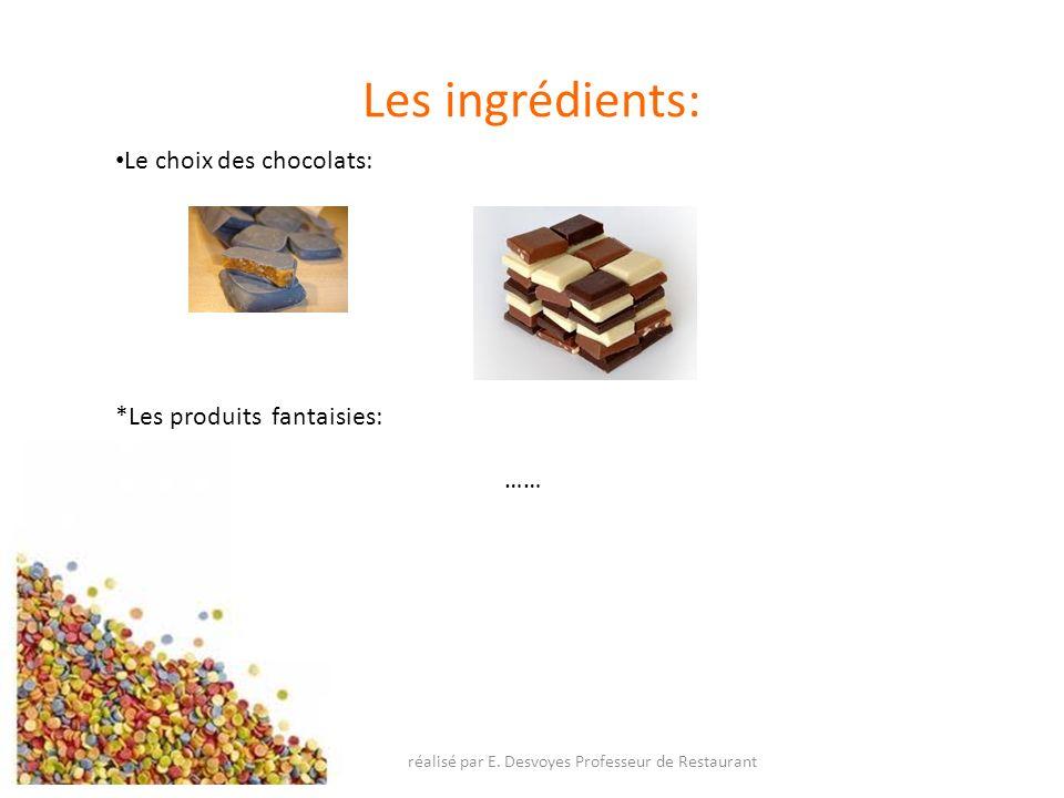 Les ingrédients: Le choix des chocolats: *Les produits fantaisies: …… réalisé par E. Desvoyes Professeur de Restaurant