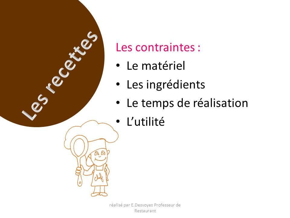 Les contraintes : Le matériel Les ingrédients Le temps de réalisation Lutilité réalisé par E.Desvoyes Professeur de Restaurant