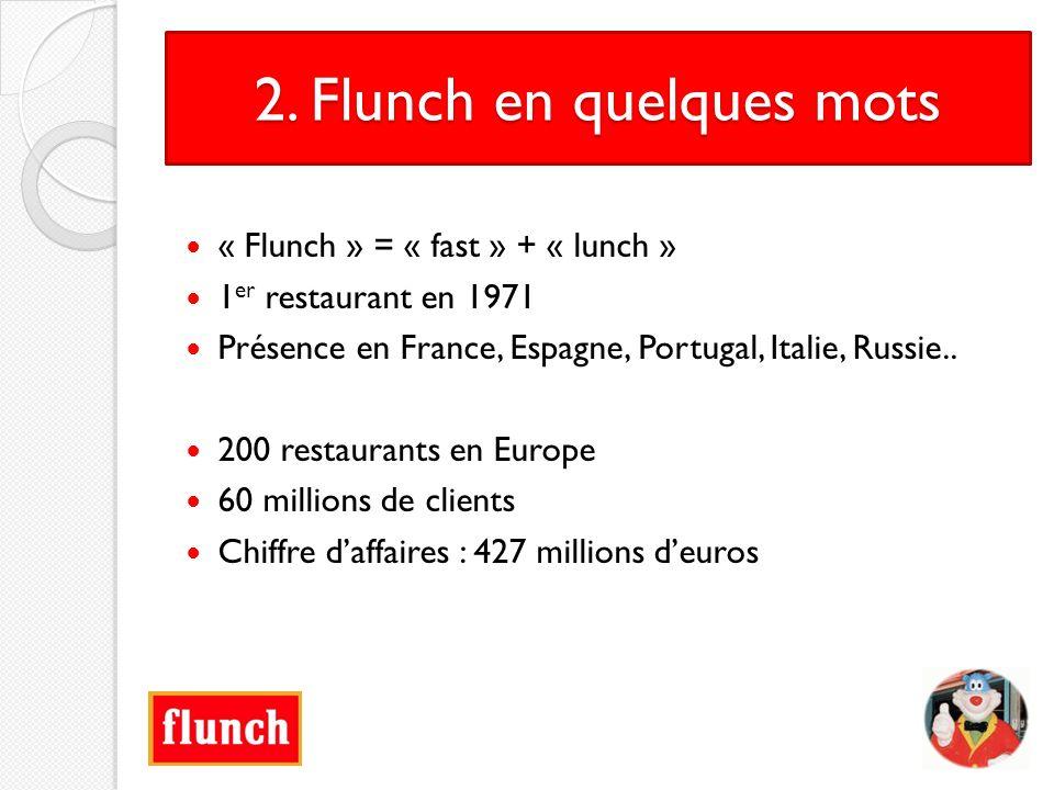 2. Flunch en quelques mots « Flunch » = « fast » + « lunch » 1 er restaurant en 1971 Présence en France, Espagne, Portugal, Italie, Russie.. 200 resta