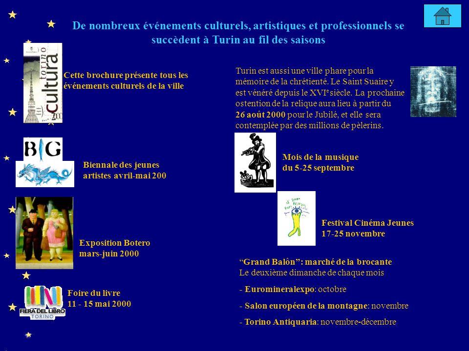Cette brochure présente tous les événements culturels de la ville Foire du livre 11 - 15 mai 2000 Biennale des jeunes artistes avril-mai 200 De nombreux événements culturels, artistiques et professionnels se succèdent à Turin au fil des saisons Exposition Botero mars-juin 2000 Grand Balôn: marché de la brocante Le deuxième dimanche de chaque mois - Euromineralexpo: octobre - Salon européen de la montagne: novembre - Torino Antiquaria: novembre-décembre Mois de la musique du 5-25 septembre Turin est aussi une ville phare pour la mémoire de la chrétienté.