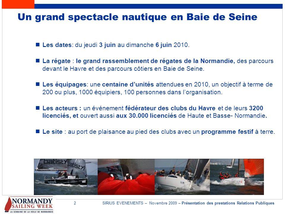 2SIRIUS EVENEMENTS – Novembre 2009 – Présentation des prestations Relations Publiques Un grand spectacle nautique en Baie de Seine Les dates: du jeudi
