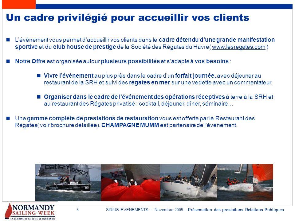 3SIRIUS EVENEMENTS – Novembre 2009 – Présentation des prestations Relations Publiques Un cadre privilégié pour accueillir vos clients Lévénement vous