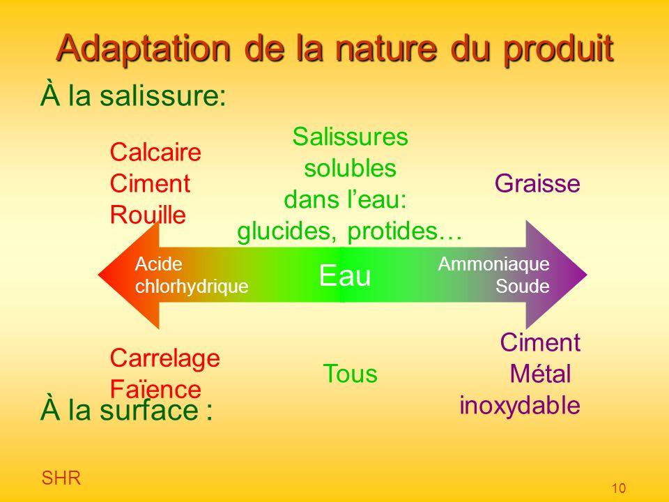 SHR 10 Adaptation de la nature du produit À la salissure: À la surface : Acide chlorhydrique Ammoniaque Soude Eau Ciment Métal inoxydable Carrelage Fa