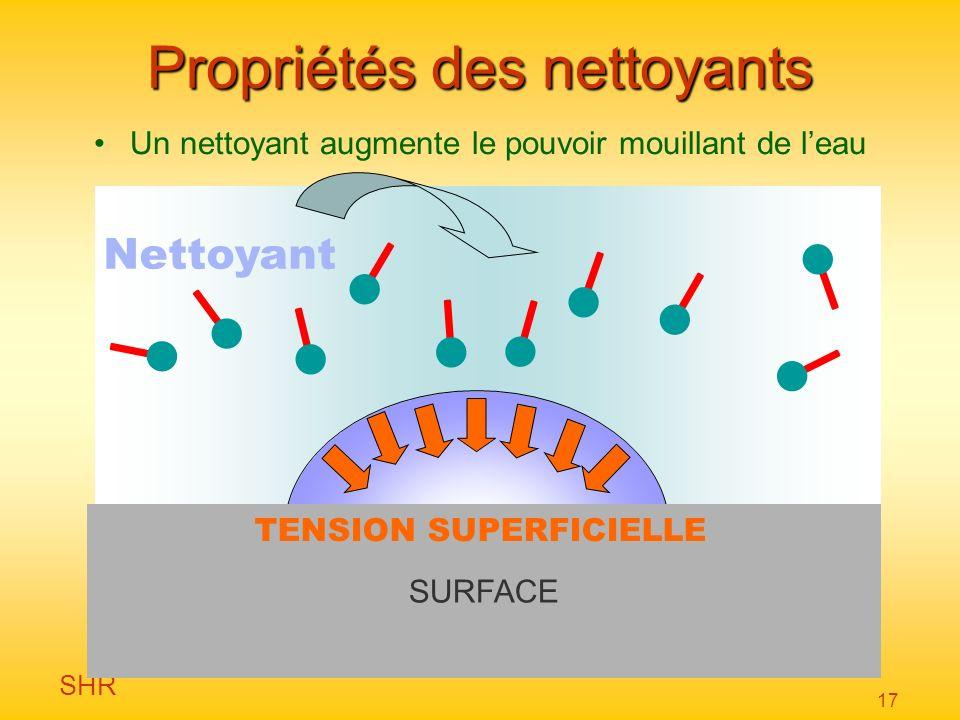 SHR 17 Nettoyant Propriétés des nettoyants Un nettoyant augmente le pouvoir mouillant de leau SURFACE TENSION SUPERFICIELLE