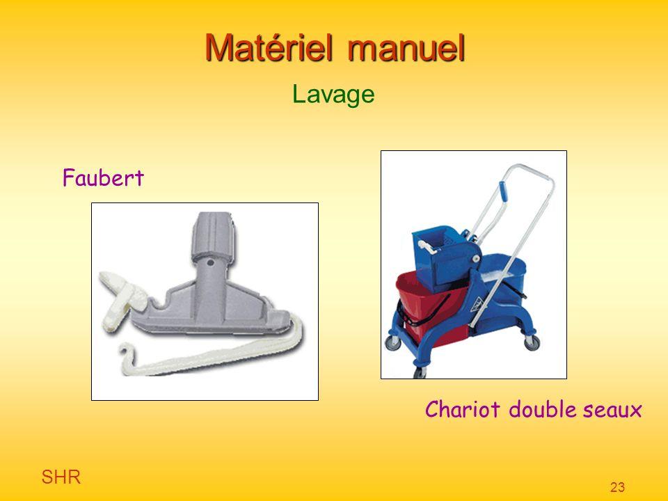 SHR 23 Matériel manuel Lavage Faubert Chariot double seaux