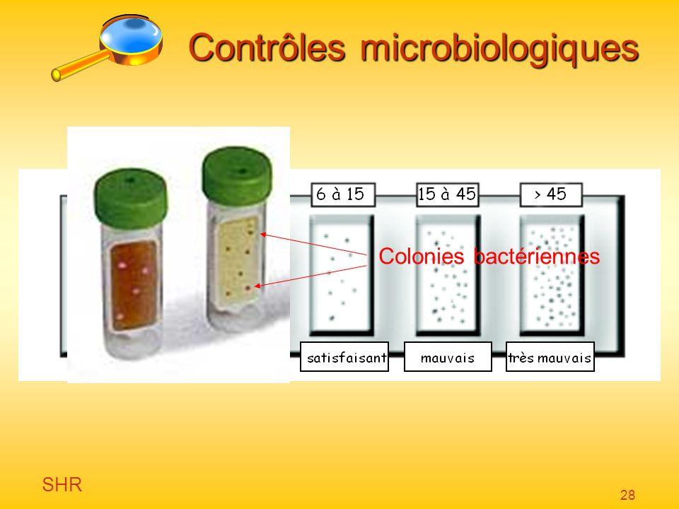 SHR 28 Colonies bactériennes Contrôles microbiologiques