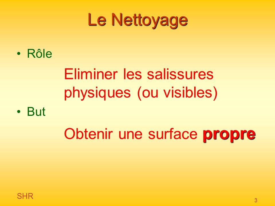SHR 3 Le Nettoyage Rôle Eliminer les salissures physiques (ou visibles) But propre Obtenir une surface propre