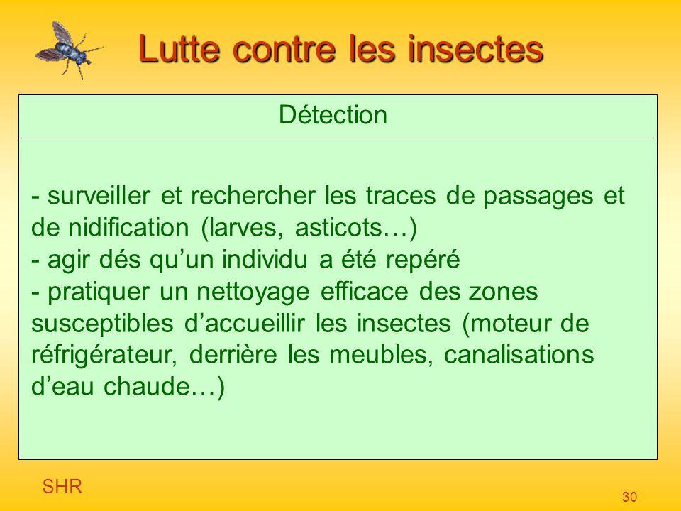 SHR 30 Lutte contre les insectes Détection - surveiller et rechercher les traces de passages et de nidification (larves, asticots…) - agir dés quun in