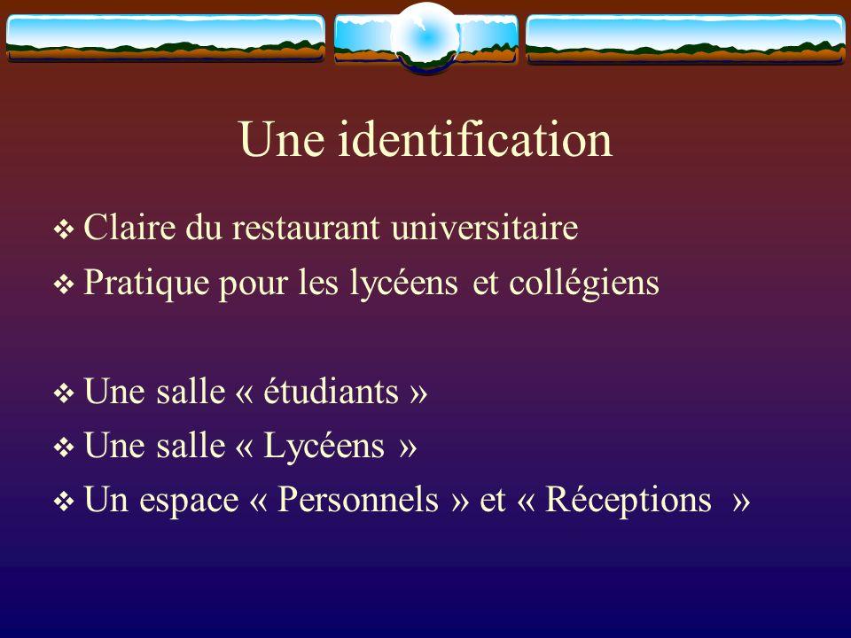 Une identification Claire du restaurant universitaire Pratique pour les lycéens et collégiens Une salle « étudiants » Une salle « Lycéens » Un espace « Personnels » et « Réceptions »