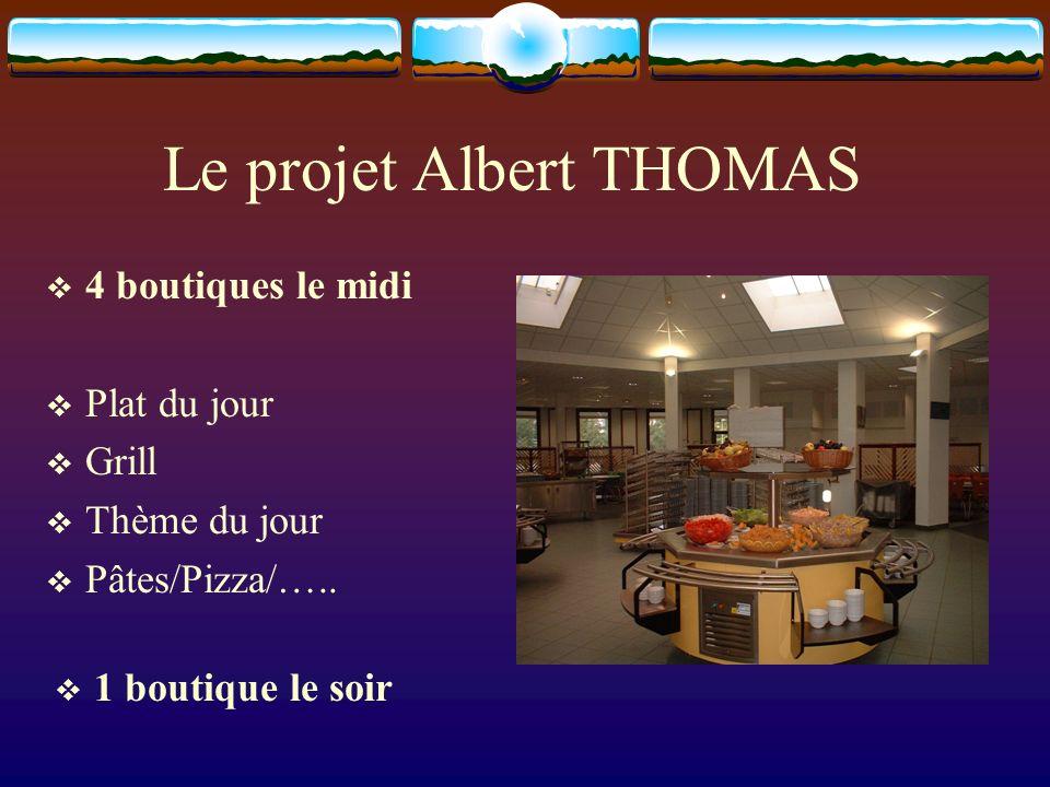 Le projet Albert THOMAS 4 boutiques le midi Plat du jour Grill Thème du jour Pâtes/Pizza/…..