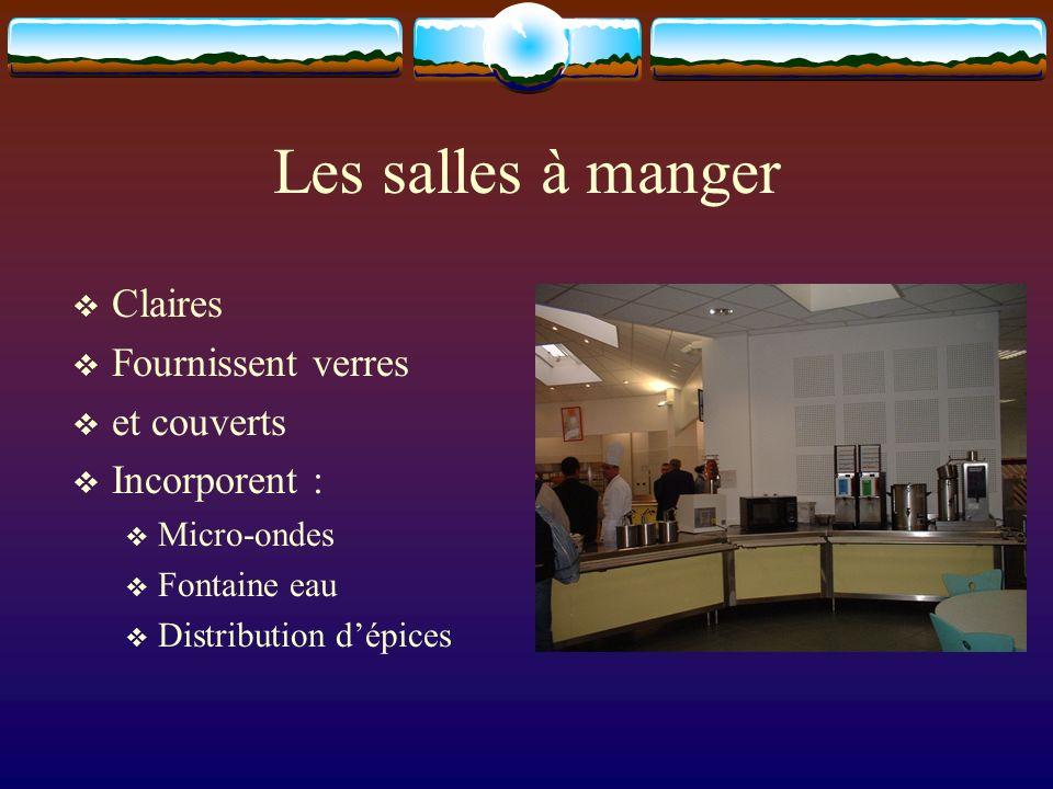 Les salles à manger Claires Fournissent verres et couverts Incorporent : Micro-ondes Fontaine eau Distribution dépices
