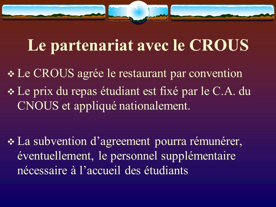 Le partenariat avec le CROUS Le CROUS agrée le restaurant par convention Le prix du repas étudiant est fixé par le C.A.