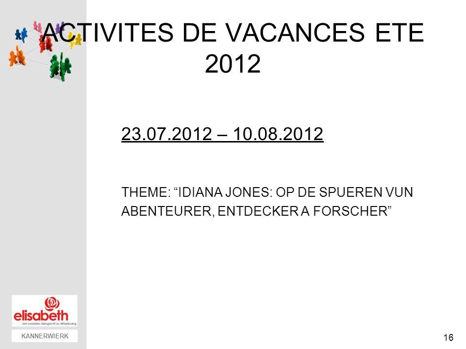 KANNERWIERK ACTIVITES DE VACANCES ETE 2012 23.07.2012 – 10.08.2012 THEME: IDIANA JONES: OP DE SPUEREN VUN ABENTEURER, ENTDECKER A FORSCHER 16