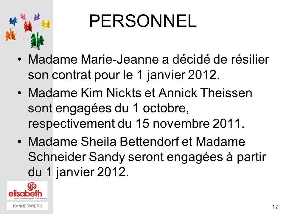 KANNERWIERK PERSONNEL Madame Marie-Jeanne a décidé de résilier son contrat pour le 1 janvier 2012. Madame Kim Nickts et Annick Theissen sont engagées