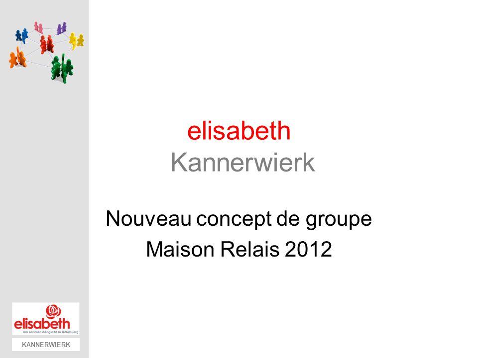 KANNERWIERK Implementation C oncept nouveaux groupes Nouvelles fiches dinscription Dès 1 janvier 2012 Nouveaux groupes: Phase de projet (1 semestre 2012) 13