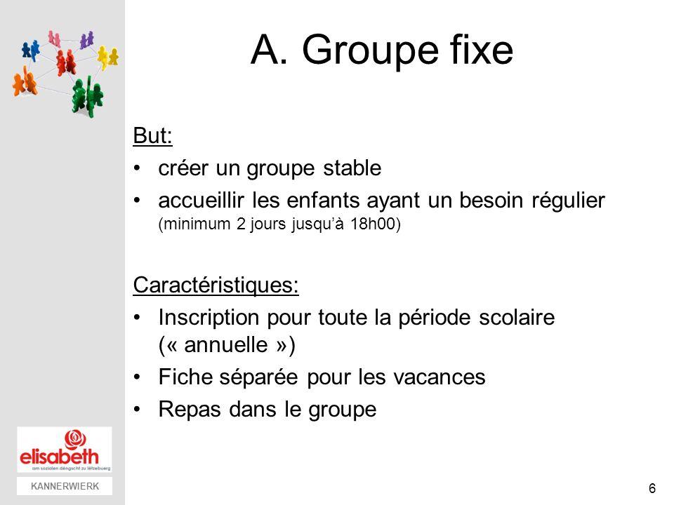 KANNERWIERK A. Groupe fixe But: créer un groupe stable accueillir les enfants ayant un besoin régulier (minimum 2 jours jusquà 18h00) Caractéristiques