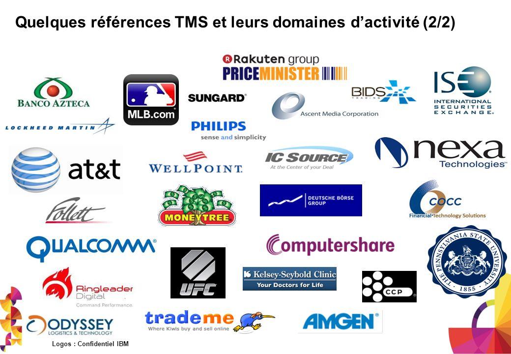 Quelques références TMS et leurs domaines dactivité (2/2) Logos : Confidentiel IBM